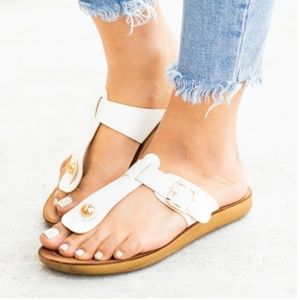 Comfy White Thong Buckle Sandals